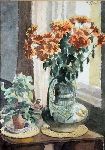 Still Life Majolica Vase with Flowers